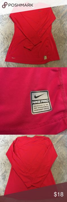 """Nike Pro Top Nike Pro Red Top. Size medium. Measures 18"""" from armpit to armpit. Length 27"""". Used but great condition. ❌No Trades❌Proceeds go towards feeding the homeless❌ Nike Tops Tees - Long Sleeve"""