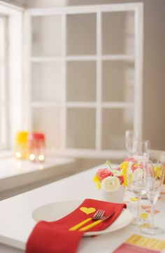 a fresh take on valentine's from hey look.  http://blog.heylook.fi/2012/01/valentines-dinner-in-bright-yellow-and.html
