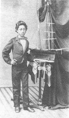 Prince William Pitt Leleiohoku II of Hawai'i (1854 - 1877). Photograph taken in 1865.