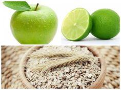 01. ingredientes jugo-Jugo de avena, manzana verde y limón para la gastritis, estreñimiento y pirosis