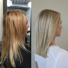 Blonde transformation brass/orange tones from previous color to cool beige…