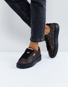 Puma Metallic Print Basket Platform Sneakers In Black - Black