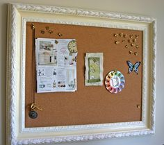 framed bulletin board- recycle old frame, get a sheet of cork board, and a piece of cute fabric.