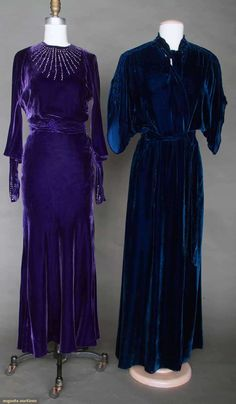 Two Silk Velvet Evening Gowns, 1930s, via Augusta Auctions.