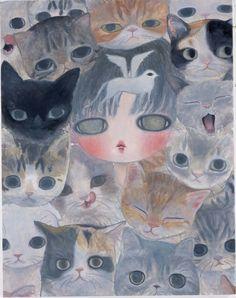 null by null Pretty Art, Cute Art, Art Inspo, Aya Takano, Funky Art, Japanese Art, Japanese Contemporary Art, Art Plastique, Art Sketchbook