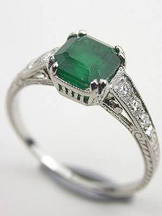 vintage emerald rings | Edwardian Inspired Vintage Emerald Engagement Ring, RG-3216