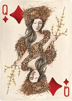 "Uusi's ""Pagan"" playing card deck, currently funding on Kickstarter. Queen of Diamonds."