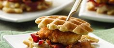 Bite-size bacon, beer and bourbon...how could chicken 'n waffles get any better?