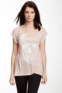 Romeo & Juliet Couture Hi-Lo Embellished Skull Tee by Romeo & Juliet Couture on @HauteLook