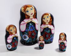 Russian Matryoshka Black Russian Nesting dolls Black Flowers Zhostovo set of 5 pieces Gift for mom Handmade work Folk art Handmade toy