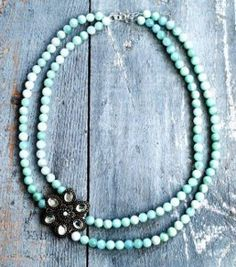 Rhinestone Brooch and Bead Necklace | AllFreeJewelryMaking.com
