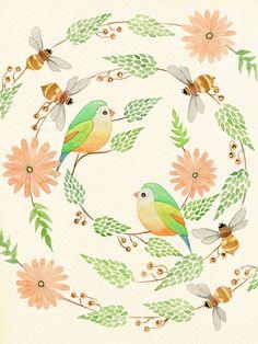 Colleen Parker. Birds, bees, flowers, watercolour, paint, art, tattoo