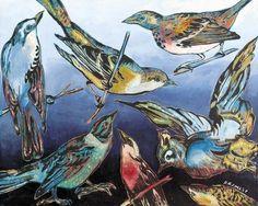 DAVID BROMLEY  Birds  Original Polymer on Canvas 120cm x 150cm - Stunning