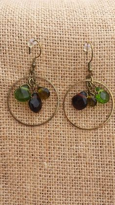 Michi's Boutique - $12.00   Green Faceted Drop Bead Earrings