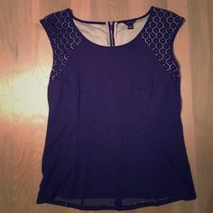 Ann Taylor Polka dot and floral top Cute black top with floral lace detail on shoulders and top of back and polka dot body. Slight high low effect on hem. Ann Taylor Tops Blouses