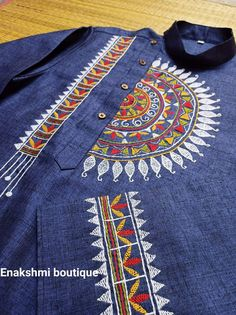 Embroidery On Kurtis, Kurti Embroidery Design, Hand Embroidery Dress, Hand Embroidery Videos, Embroidery Flowers Pattern, Embroidery On Clothes, Embroidery Motifs, Embroidery Fashion, Simple Embroidery Designs