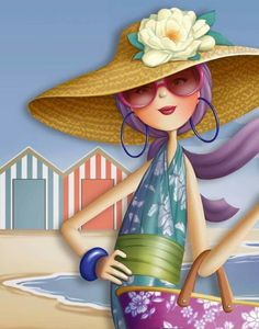 quenalbertini: Beach days by Nina de San Decoupage, Illustrations, Illustration Art, Art Fantaisiste, Art Mignon, Creation Photo, Marquis, Whimsical Art, Beach Art