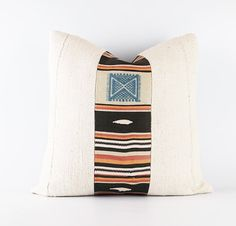 Vintage Handwoven Moroccan Kilim And Natural White African Mudcloth Pillow Cover 20x20
