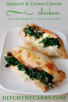 Keto spinach stuffed chicken is super easy to make, and super tasty and filling. Perfect for a winter meal, or even a BBQ. | ditchthecarbs.com via @ditchthecarbs