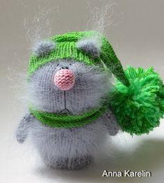 Fluffy Cat Grey Amigurumi Kitten Miniature Pet by MiracleStore