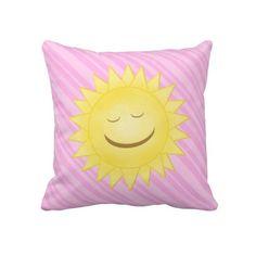 Smiling Sun: Pink Throw PIllow