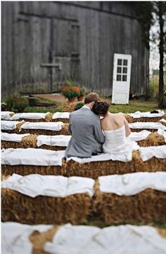 hay barrel seating-cute for a country style wedding