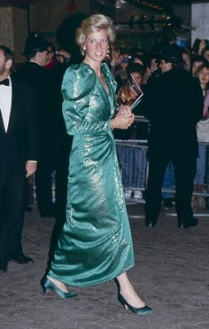 """Princess Diana attends the premiere of """"The Hunt for Red October"""" in London's West End on April 17, 1990 in London, England."""