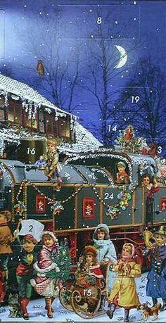 Christmas Train, Magical Christmas, Christmas Scenes, Noel Christmas, Victorian Christmas, Christmas Greetings, Winter Christmas, Xmas, Vintage Christmas Images