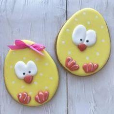 Iced Cookies, Easter Cookies, Easter Treats, Holiday Cookies, Cake Cookies, Sugar Cookies, Cupcakes, Cookie Designs, Macaron