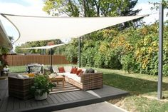 The Happiness of Having Yard Patios – Outdoor Patio Decor Deck Shade, Backyard Shade, Outdoor Shade, Backyard Privacy, Backyard Patio Designs, Pergola Shade, Ideas For Backyard Patio, Shade For Patio, Private Patio Ideas
