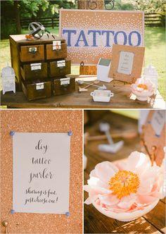 make a diy tatto parlor http://www.weddingchicks.com/2013/10/21/beauteous-backyard-wedding/