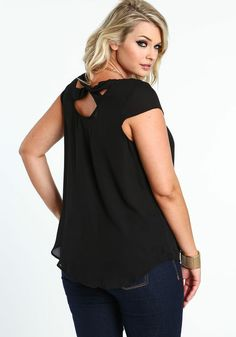 Plus Size Ribbon Tie Chiffon Blouse, BLACK, large