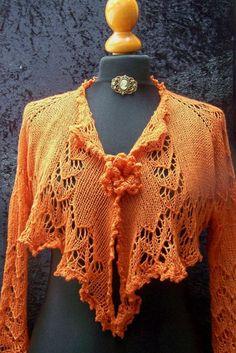 lace knitted shrug bolero cardigan in merino orange by Wollarium, $135.00