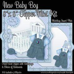 Printable New Baby Boy 8 x 8 Topper Mini Kit