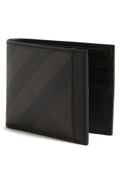 Burberry Check Print Bifold Wallet available at Best Wallet, My Wallet, Leather Men, Leather Wallet, Mature Mens Fashion, Men's Backpacks, Check Printing, Well Dressed Men, Leather Design