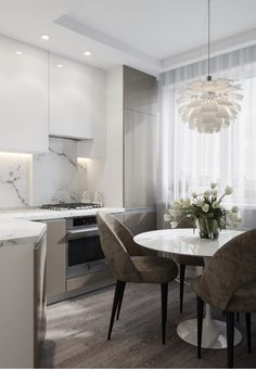 We LOVE this contemporary glass kitchen. Use our beautiful RAUVISIO crystal surfaces in your home: Kitchen Room Design, Modern Kitchen Design, Dining Room Design, Home Decor Kitchen, Kitchen Interior, Interior Design Living Room, Home Kitchens, Küchen Design, Apartment Kitchen