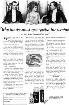 W T BENDA Cutex Nail Polish HIS DOWNCAST EYES SPOILED HER EVENING 1920 Print Ad   eBay