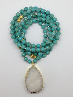 Turquoise Beaded Druzy Pendant Necklace by Goldenstrand Jewelry, www.goldenstrandjewelry.com