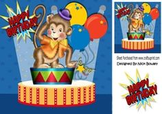 whos a cheeky monkey  in the circus 8x8 on Craftsuprint - View Now!
