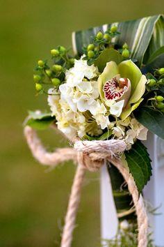 Hilton Head Wedding Florist: aisle decoration with green orchid