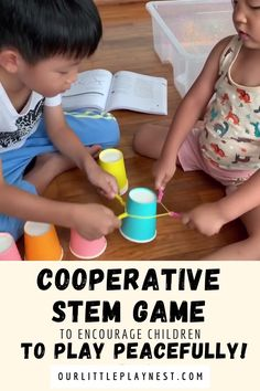 Simple Cooperative STEM activity for kidsYou can find Stem activities and more on our website.Simple Cooperative STEM activity for kids Creative Activities For Kids, Toddler Learning Activities, Indoor Activities For Kids, Activity Games, Educational Activities, Preschool Activities, Kids Fun, Preschool Kindergarten, Simple Games For Kids