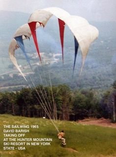 ONE OF THE FIRST PARAGLIDERS- 1965, not sure how safe that wing is. But our new world wings definitely spell out CONFIDENCE in them. Come fly with us! www.libertyppg.com