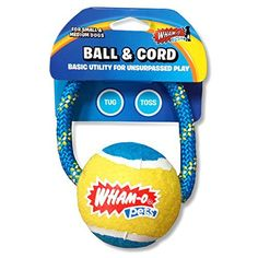 WhamO Pets Ball  Cord Dog Toy for Small to Medium Dogs 4 BlueYellow -- This is an Amazon Affiliate link. Read more reviews of the product by visiting the link on the image.
