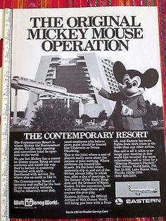 Vintage Eastern Airlines with Walt Disney World Mickey Mouse Print Ad *Rare*