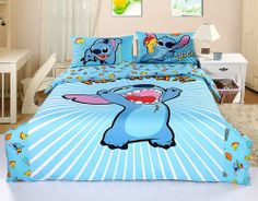 New 2013 Disney Lilo Stitch Bedding Set 4pc Queen Bed Cotton Gift RARE