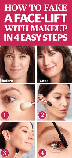 How To Fake A Face Lift With Makeup In 4 Easy Steps. Aging is something none of us can escape, but there are still ways to look younger and fresher without taking a trip to the plastic surgeon's office or trying the latest anti-aging skin cream out there. Go to redbookmag.com and find out how we're shaving off 10 years in 10 minutes with 4 easy makeup hacks.