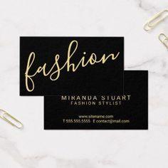 Professional Modern Black&Gold Fashion Stylist Business Card - stylist business cards cyo personalize businesscard diy
