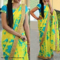 Buy Yellow Shibori Printed Georgette Saree online in India at best price.Step out in style adorning this beautiful yellow - blue saree. This georgette saree look has been enhanced Shibori Sarees, Georgette Sarees, Organza Saree, Half Saree Designs, Saree Blouse Designs, Saree Models, Blouse Models, Online Shopping Sarees, Yellow Saree