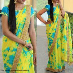 Yellow Shibori Printed Georgette Saree #Saree