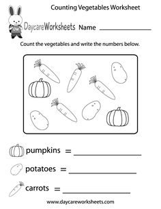 In this fun counting activity worksheet preschoolers have to count different types of vegetables and write the numbers below the image.